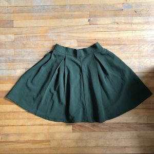 Olive green mini skirt